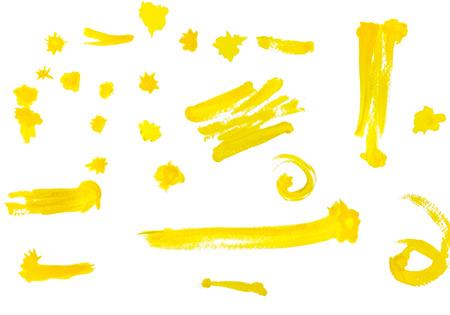 yellow paint: Yellow paint brush with white background