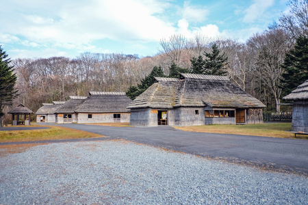The old village ancient in Japan, Ainu hut is living in Hokkaido