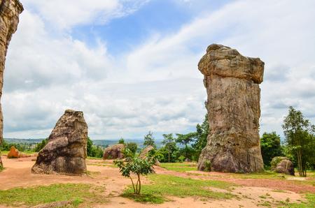 atmospheric phenomena: Stonehenge of Thailand (Mor Hin khao), The ancient strange stone is  landmark at Chaiyaphum province Thailand Stock Photo