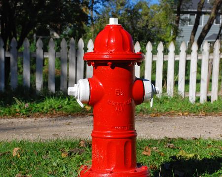 Bright Red Fire Hydrant Stock Photo