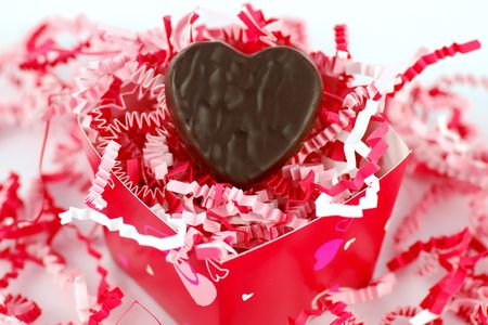 Chocolate heart in gift box Stock Photo