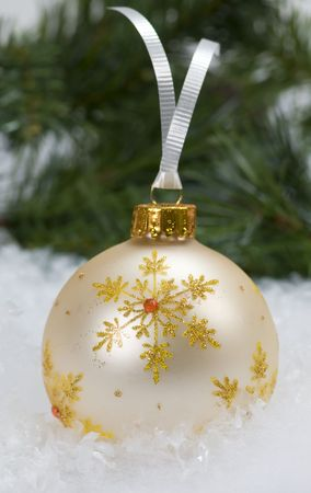 White & Gold Christmas Ornament Stock Photo