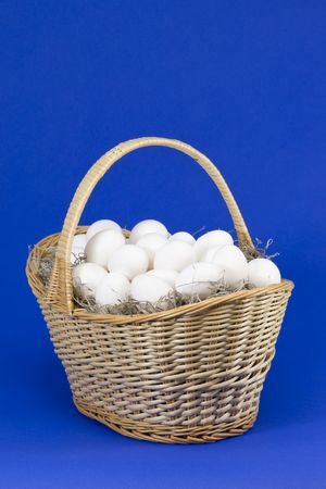 A basket full of farm fresh eggs Stock Photo