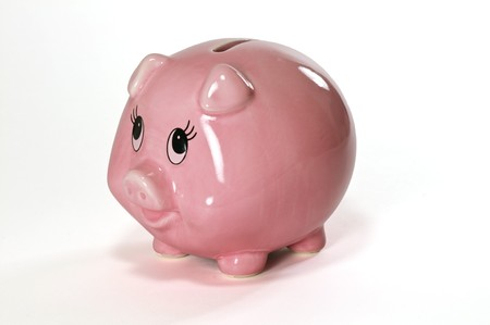 A pink ceramic piggy bank Stock Photo