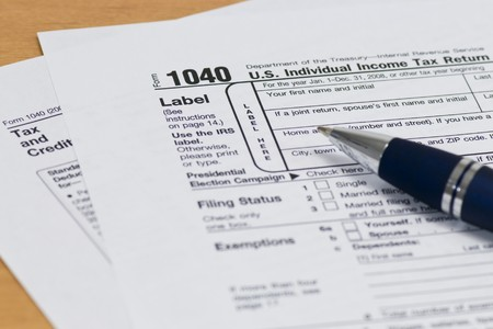 Close up of a 1040 IRS Tax Form