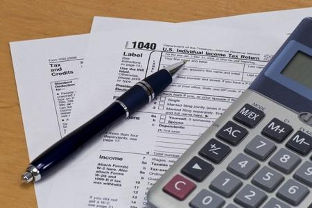 podatnika: 1040 Amerykańskiego podatku od z Kalkulatora & pióro