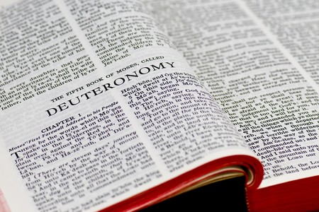 Close up of Deuteronomy bible page Stock Photo