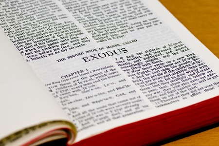 Close up of Exodus bible page