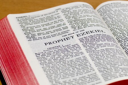 Close up of Ezekiel bible page