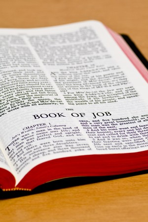 Close up of Job bible page Stock Photo