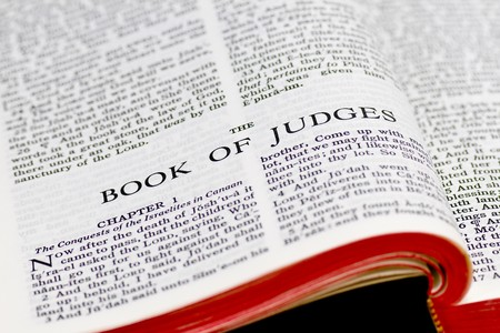 Close up of Judges bible page Stock Photo