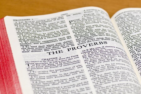 doctrine: Close up of Proverbs bible page