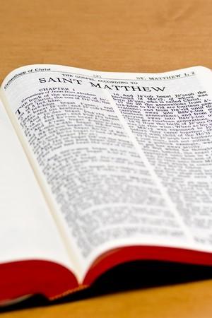 Close up of St. Matthew bible page photo