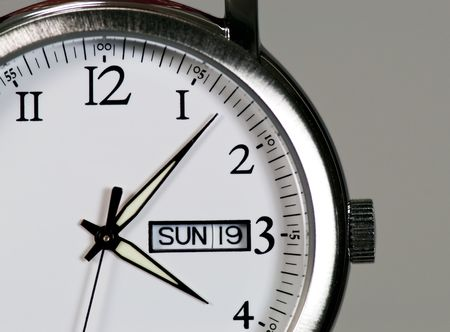 Close up of a steel wristwatch Stock Photo