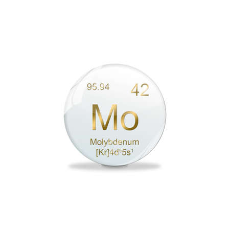 3D-Illustration, Molybdenum symbol - Mo. Element of the periodic table on white ball with golden signs. White background