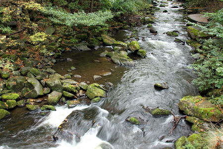 Rapids in the valley of river Bode in Harz mountains in Germany