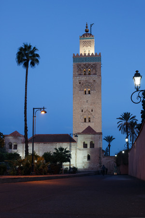 Minaret of the Koutoubia-Mosque during blue hour