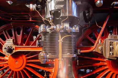 close-up of the air pump of a steam locomotive series 03 of the german Reichsbahn Stock fotó