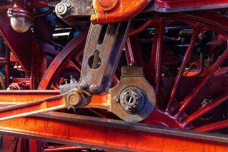 close up view of an eccentric crank of a steam engine of series 03 of the german Reichsbahn