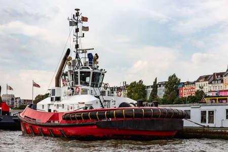 tugboat at Landungsbrücken in the port of Hamburg
