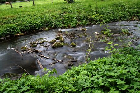 A flowing river with stones