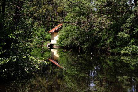 A small house at a lake