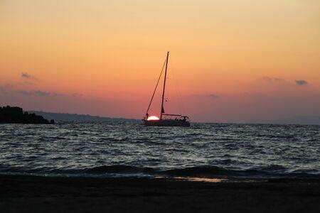 A sailing ship at the evening