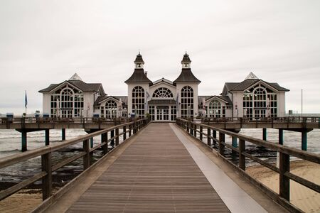 The sea bridge in Sellin Stock Photo