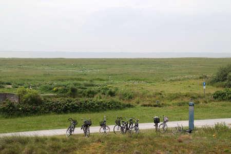 Bicycles on a bike path on Langeoog