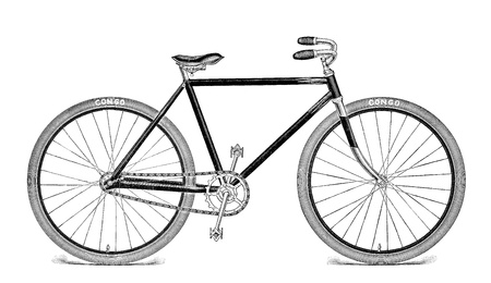 free riding: Antique Vintage Bike Engraving Isolated on White  1909