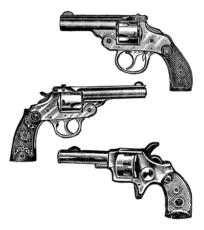 Antique engraved illustration of three revolvers. Created in 1909.