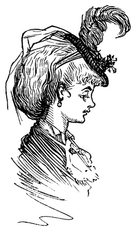 Vintage engraved illustration of a young woman with a feathered hat, isolated against white
