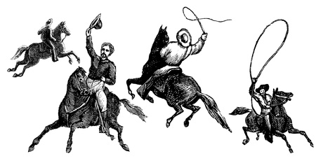 bucking horse: Four antique engraved cowboy illustrations isolated on a white background  Created in 1891