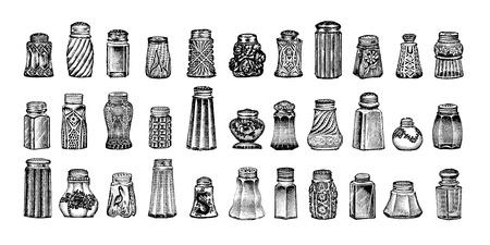 소금 후추 병의 골동품 새겨진 일러스트 레이 션의 컬렉션은 1909 년에 제작