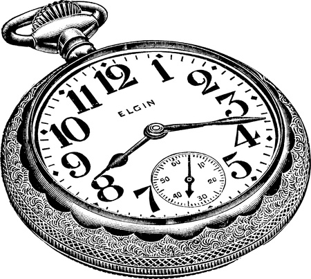 An antique engraved illustration of a pocket watch isolated on a white background  Created in 1909