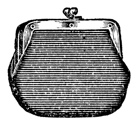 Vintage engraved illustration of a coin purse, isolated against white  Created in 1909