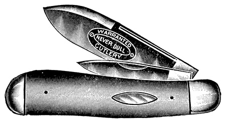 pocket size: Vintage engraved illustration of an army knife, isolated against white  Created in 1909