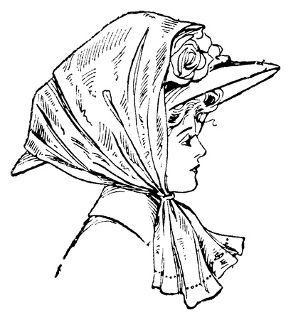 An antique engraved illustration of a stylish woman in a veil, created in 1909  illustration