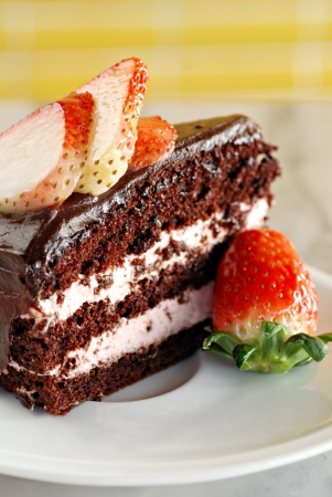 Chocolate cake with strawberry photo