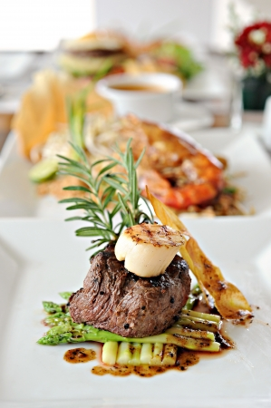 Grilled beef with scallop photo