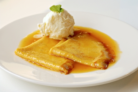 crepe: Crepe with Ice Cream Stock Photo