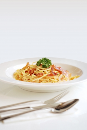 Spaghetti  Carbonara Stock Photo