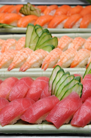 Tuna sushi, Salmon sushi, Shrimp sushi Stock Photo - 14623821