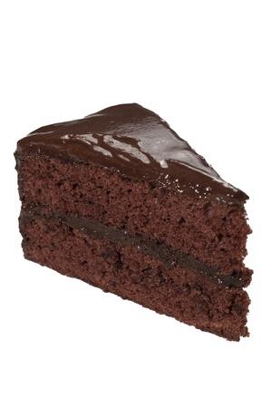 白い背景とチョコレート ケーキ