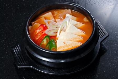 sopa de pollo: Sopa de Corea Foto de archivo