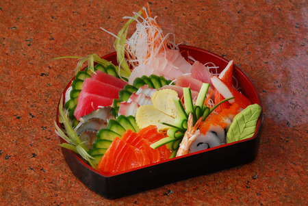 Japanese Sushi set   Fresh Slamon, Tuna, Saba, hamaji, Sweet egg and Squid Sushi Stock Photo