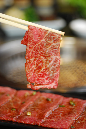 Slice Beef hold with chopstick