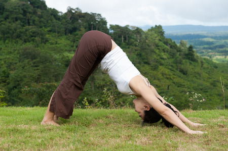 Yoga Pose Outdoors, Downward facing dog