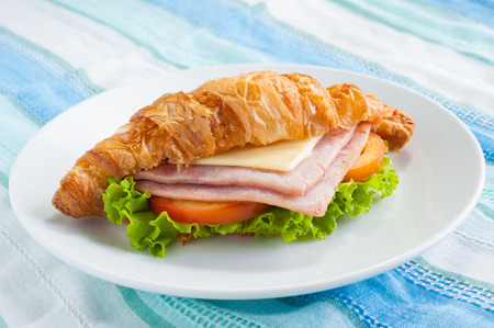 croissant ham cheese  Stock Photo