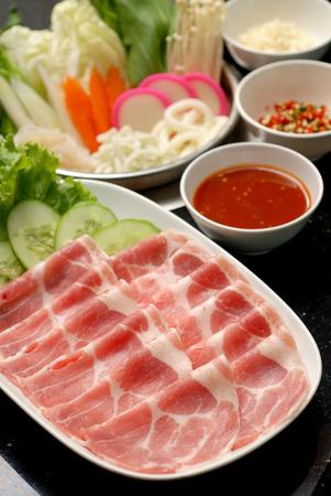Fresh Beef and pork slices for Shabushabu and Sukiyaki